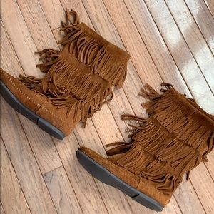 Brown Fringe Minnetonka Boots